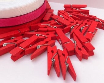 25 Red Mini Wooden Craft Pegs (3.5 x 0.8cm)