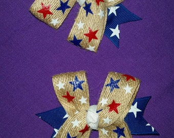 Star Spangled pigtail clips