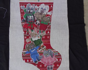 TS Needlepoint Canvas Christmas Stocking Bunny Rabbit  FREE Shipping USA