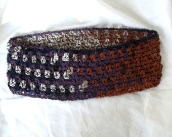 Handmade Crochet Cowl, Russet, Brown, Cream, Plum, Navy, Collar, Scarflet, Looser, Fiber Necklace
