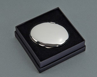 """Oval Compact 2.5"""" x 2"""" SP w/Pouch,  Free Engraving!"""