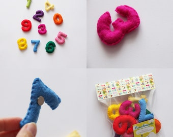 Felt numbers made completely by hand.