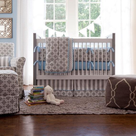 Neutral crib bedding boy baby bedding gray by for Grey nursery fabric
