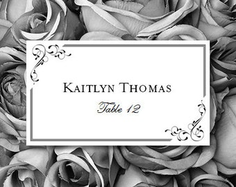 "Printable Place Card ""Elegance"" Black Editable Word.doc Template Avery 5302 Compat.Tent Card Instant D. ALL Colors Available DIY You Print"