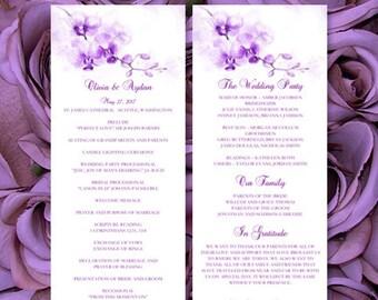"Printable ""Orchid"" Purple Wedding Program Template Perfect for Beach or Tropical Destination Ceremony Program DIY You Print"