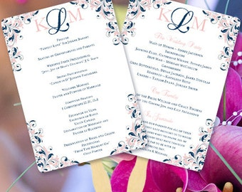 "Fan Wedding Programs ""Kaitlyn"" Navy Blue & Blush Pink Monogram Printable Order of Service Word.doc Template ALL COLORS Av. DIY You Print"