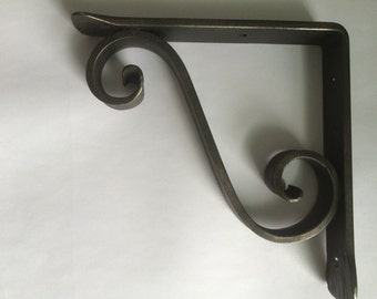 Wrought iron shelf bracket, metal counter support , metal shelf bracket, corbel, corbels, scroll bracket