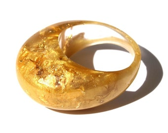 GoldiLocks Resin Ring, Gold Leaf SPRING Rings, Fashion Trending, LOVE GOLD! ResinHeavenUSA
