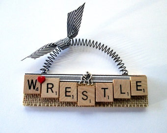 Wrestling Scrabble Tile Ornament