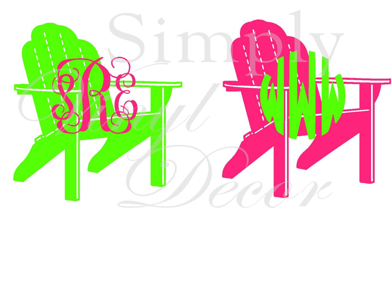 Monogrammed Beach Chair Decal