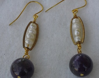 Handmade  dangle earrings with gold tone,  amethyst beads and pearls