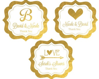 Foil Labels - Personalized Gold Wedding Stickers - Silver Gold Foil Stickers - Gold Wedding Decor (EB3020FW) set of 24| labels