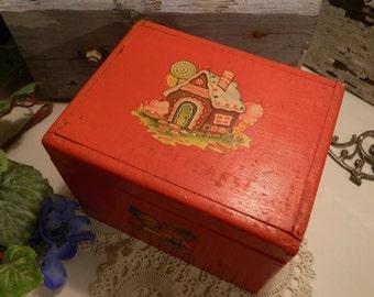 Cute Red Painted Wood Vintage Box Decals