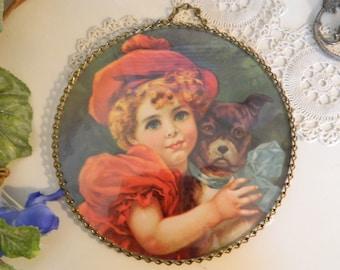 Vintage Young Girl With Dog Print