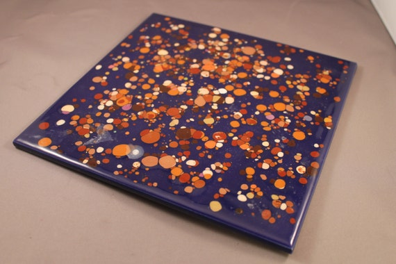 1970s 70s Abstract Tile Wall Plaque Plate Sky Stars Planets
