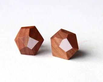 Faceted wooden earrings