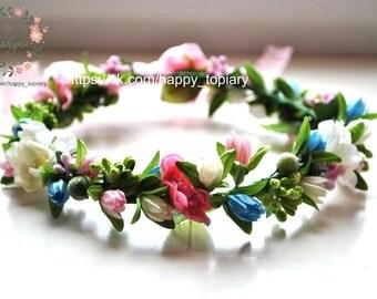 Valintine's day Pink blue bridal crown Hair Wreath, Pink blue halo Bridal hair wreath hairpiece Pip berry crown Pink blue flower girl crown