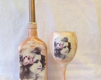Vintage/Antique aged style candle holder and wine glass - decoupaged