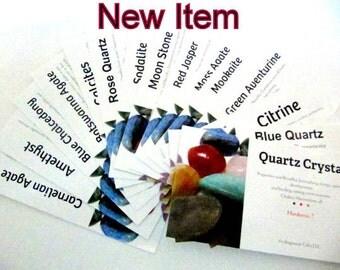 Tumbled Stones, Gemstone  Identification Cards, 17 Cards, Chakra Association, Healing Property, Hardness Of Stone, Educational, Specimen, #1