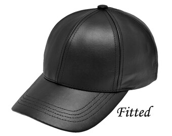 Leather Baseball Cap Fitted M-XXL Size Made in USA