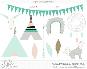Native Trail - commercial use vector graphics clipart clip art illustrations digital images PNG - Instant Download