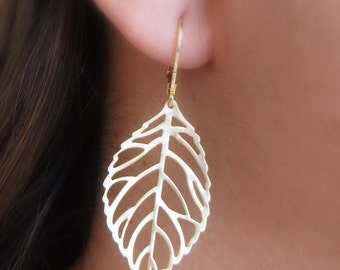 Leaf Earrings, Large Gold Leaf,Gif for Her,For Friends, Leaf Leverback, Everyday Wear, Simple Earrings,Free US Shipping