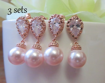 Set of 3 Luxury Bridesmaids Rose Gold Earrings, Pink Swarovski Pearls Rose Gold Cubic Zirconia, Bridesmaids Gift, Free US Shipping