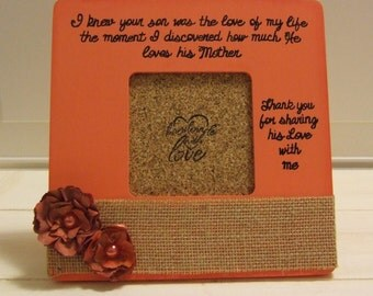 Mother's Day Gift for His Mom Personalized frames Mother in-law gift Daughter in-law frame Wedding Party frames gifts Mom Frames Coral