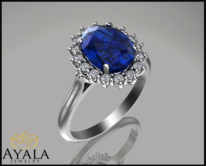 princess diana ring 14k white gold blue sapphire by