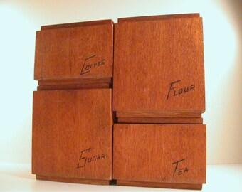 Teak Kitchen Canisters, Set of 4 Teak Mid Century Wood Canisters, Sleek Vintage Canister Set.