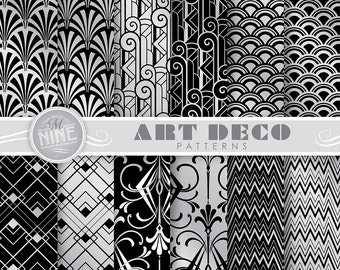 "ART DECO Black & Silver Digital Paper Pack 12"" x 12"" Pattern Prints, Instant Download, Retro Patterns Backgrounds Print"