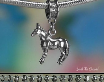 Sterling Silver Mule Charm or European Style Charm Bracelet Solid .925