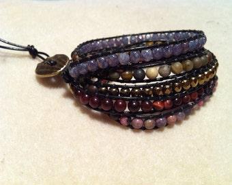 Five Wrap Bracelet with gem stone beads and glass fire polish beads