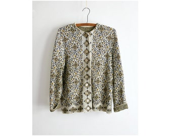 vintage 1960s sweater - 60s soft knit floral cardigan: A Fine Madness sweater