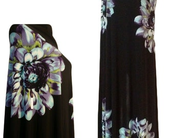 Border print fabric Floral Black polyester spandex Lycra stretch 2 panels