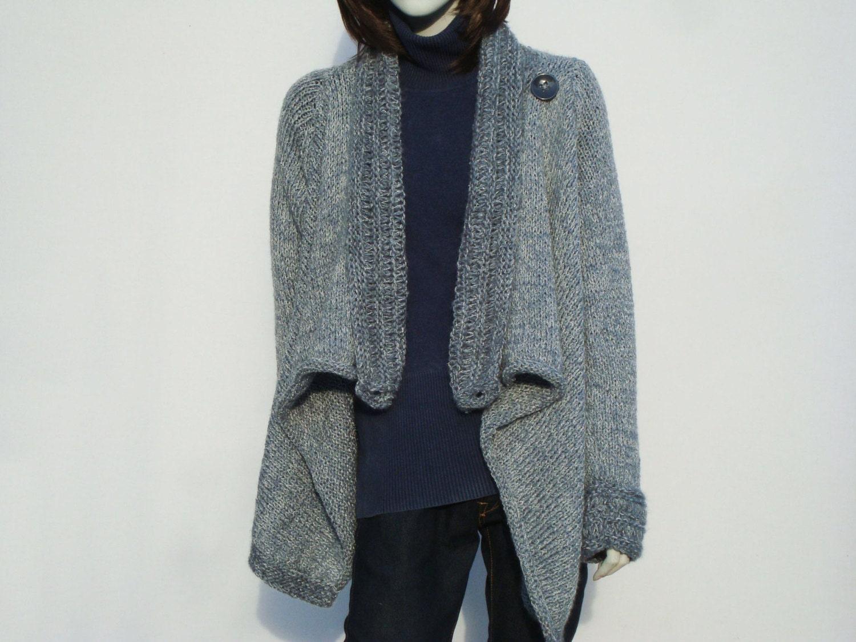 Knitting Cardigan-Hand Knit Sweater-Women Chunky