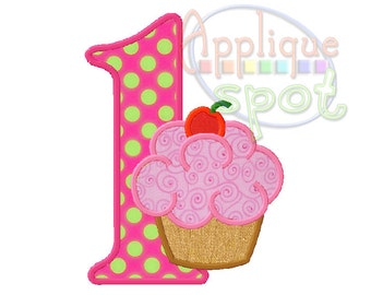 Cupcake First 1st Birthday Girl 1 - 4x4, 5x7, 6x10 Applique Design Embroidery Machine -Instant Download File