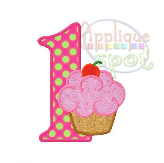 Cupcake First 1st Birthday Girl 1 4x4 5x7 6x10 Applique