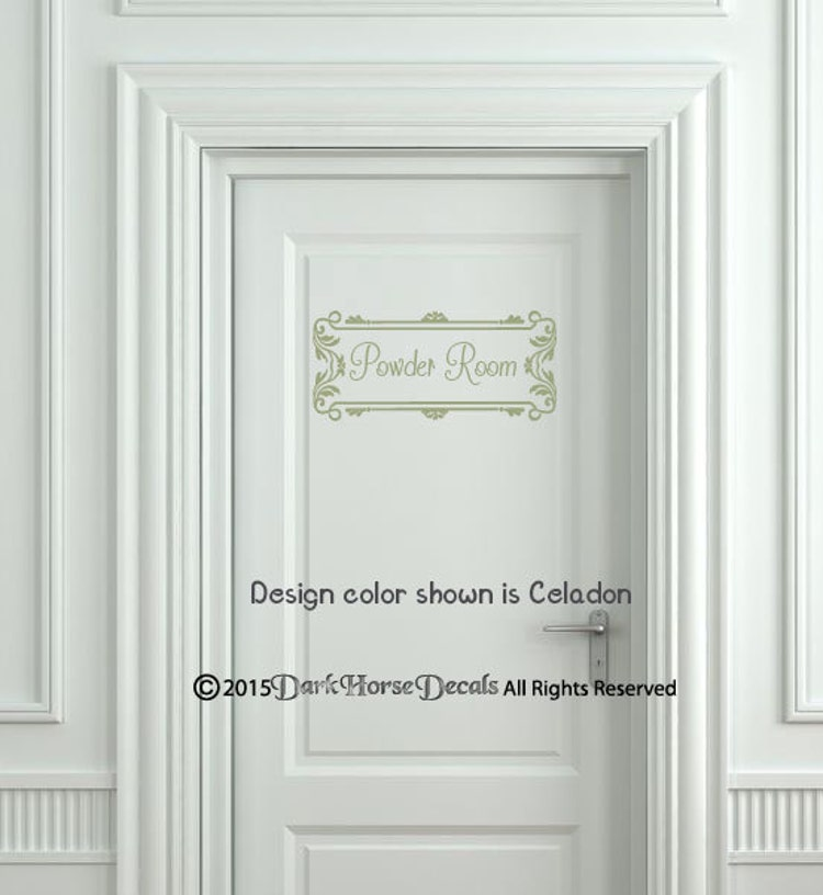 Vintage powder room decal for wall door or by darkhorsedecals for Powder room door size