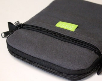 Men's iPad mini Case iPad Mini Cover eReader Kindle Sleeve Rugged - Charcoal Gray 100% Cotton Water Resistant Duck Canvas