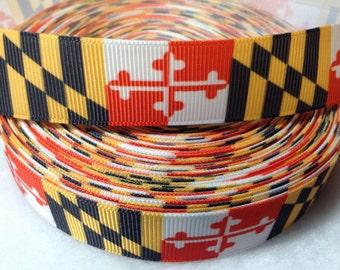 "3 Yards of 7/8"" or 1.5"" Maryland Flag Grosgrain Ribbon"