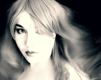 Whisper - Black and White Portrait Photography Print - Whimsical, Fine Art, Wall Art