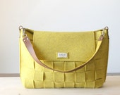 Satchel Bag/ Messenger bag / Felt yellow bag / Weave felt bag / Tote bag / shopping bag / organizer bag