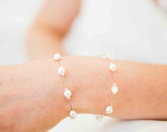 Wedding bracelet, 1 row of pearls and crystals - wedding jewelry