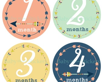 Baby Girl Monthly Month Stickers Arrow Tribal Milestone Bodysuit Shower Gift Nursery Decor Photo Prop