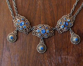 vintage 1930s necklace // 30s filigree rhinestone necklace