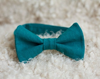 Men's and Boy's Deep Teal Linen Bow Tie, Easter Spring Photography Photo Prop, Baby Toddler Child Kids Adult Photo Accessorie