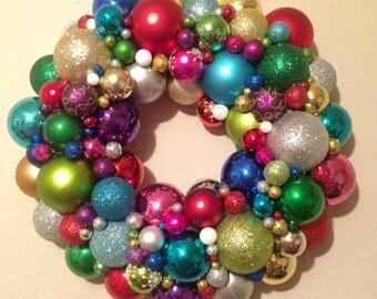 Multicolored Christmas ornament wreath