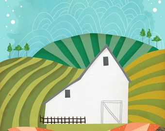 Stitched Fields - barn art print