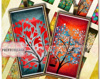 Colorful Tree images Domino Pendants Digital Collage Sheet 1 x 2 inch Printable scrabble tile images Jewelry Backgrounds D159